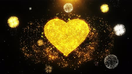 namiętność : Love Heart Icon on Firework Display Explosion Particles. Object, Shape, Text, Design, Element, Symbol 4K Animation.
