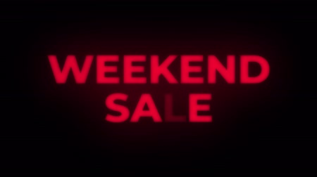 cupom : Weekend Sale Text Blinking Flickering Neon Red Sign Loop Background. Sale, Discounts, Deals, Special Offers. Green Screen and Alpha Matte