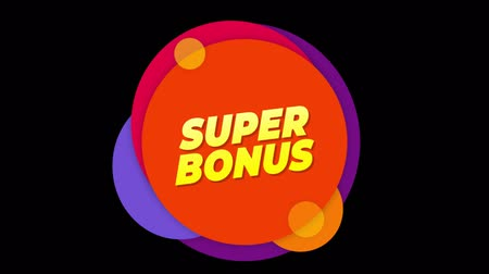 pricetag : Super Bonus Flat Style Banner Sticker Colorful Label Popup Promotional Animation. Sale, Discounts, Deals, Special Offers. Green Screen and Alpha Matte