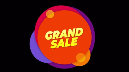 aperto cartello : Grand Sale Flat Style Banner Sticker Colorful Label Popup Promotional Animation. Sale, Discounts, Deals, Special Offers. Green Screen and Alpha Matte