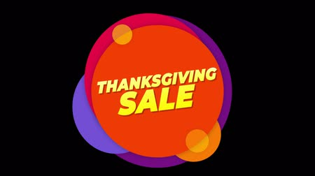 autumn discounts : Thanksgiving Sale Flat Style Banner Sticker Colorful Label Popup Promotional Animation. Sale, Discounts, Deals, Special Offers. Green Screen and Alpha Matte