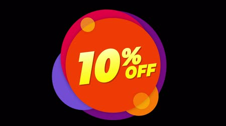metà prezzo : 10% Percent Off Flat Style Banner Sticker Colorful Label Popup Promotional Animation. Sale, Discounts, Deals, Special Offers. Green Screen and Alpha Matte