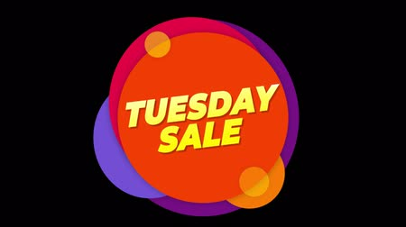 úterý : Tuesday Sale Flat Style Banner Sticker Colorful Label Popup Promotional Animation. Sale, Discounts, Deals, Special Offers. Green Screen and Alpha Matte