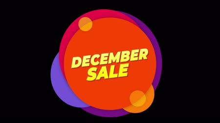 metka : December Sale Flat Style Banner Sticker Colorful Label Popup Promotional Animation. Sale, Discounts, Deals, Special Offers. Green Screen and Alpha Matte