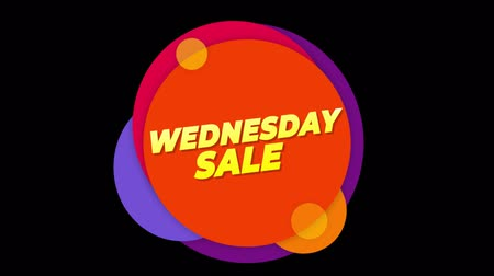 více barevné : Wednesday Sale Flat Style Banner Sticker Colorful Label Popup Promotional Animation. Sale, Discounts, Deals, Special Offers. Green Screen and Alpha Matte