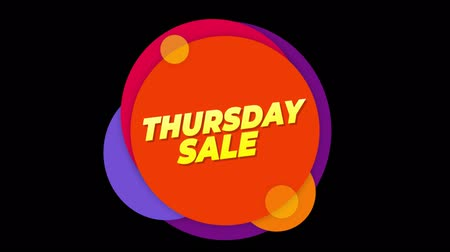 čtvrtek : Thursday Sale Flat Style Banner Sticker Colorful Label Popup Promotional Animation. Sale, Discounts, Deals, Special Offers. Green Screen and Alpha Matte