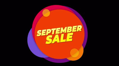 seasonal sale : September Sale Flat Style Banner Sticker Colorful Label Popup Promotional Animation. Sale, Discounts, Deals, Special Offers. Green Screen and Alpha Matte