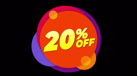hoje : 20% Percent Off Flat Style Banner Sticker Colorful Label Popup Promotional Animation. Sale, Discounts, Deals, Special Offers. Green Screen and Alpha Matte Vídeos