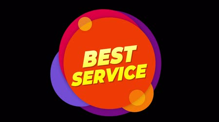 five stars : Best Service Flat Style Banner Sticker Colorful Label Popup Promotional Animation. Sale, Discounts, Deals, Special Offers. Green Screen and Alpha Matte Stock Footage