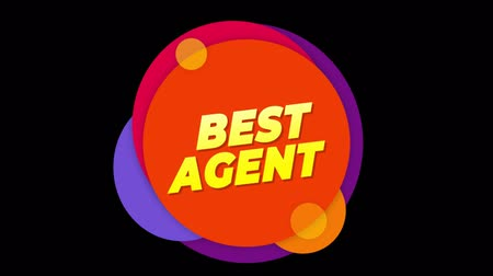 ev idaresi : Best Agent Flat Style Banner Sticker Colorful Label Popup Promotional Animation. Sale, Discounts, Deals, Special Offers. Green Screen and Alpha Matte Stok Video