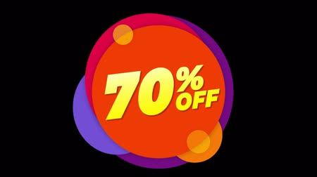 hoje : 70% Percent Off Flat Style Banner Sticker Colorful Label Popup Promotional Animation. Sale, Discounts, Deals, Special Offers. Green Screen and Alpha Matte Stock Footage