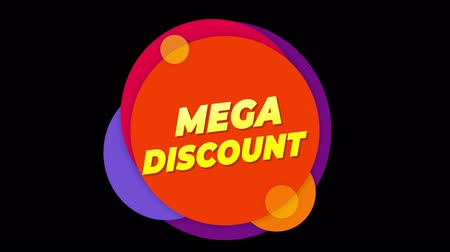 cupom : Mega Discount Flat Style Banner Sticker Colorful Label Popup Promotional Animation. Sale, Discounts, Deals, Special Offers. Green Screen and Alpha Matte Vídeos