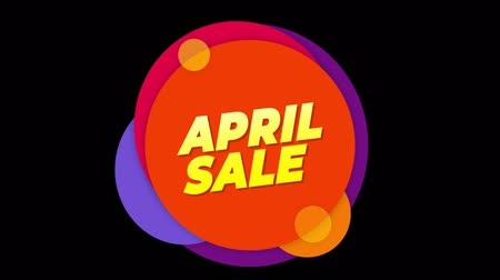 desconto : April Sale Flat Style Banner Sticker Colorful Label Popup Promotional Animation. Sale, Discounts, Deals, Special Offers. Green Screen and Alpha Matte