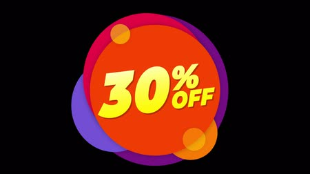 otuzlu yıllar : 30% Percent Off Flat Style Banner Sticker Colorful Label Popup Promotional Animation. Sale, Discounts, Deals, Special Offers. Green Screen and Alpha Matte
