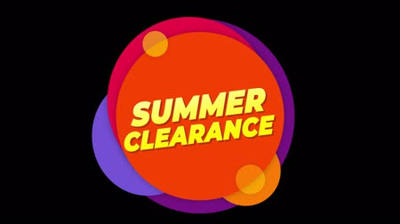 summe : Summer Clearance Flat Style Banner Sticker Colorful Label Popup Promotional Animation. Sale, Discounts, Deals, Special Offers. Green Screen and Alpha Matte