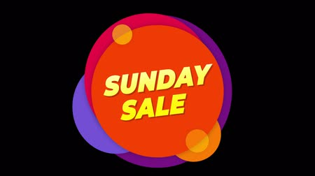 více barevné : Sunday Sale Flat Style Banner Sticker Colorful Label Popup Promotional Animation. Sale, Discounts, Deals, Special Offers. Green Screen and Alpha Matte Dostupné videozáznamy