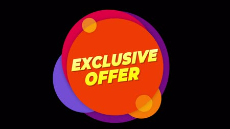 metka : Exclusive Offer Flat Style Banner Sticker Colorful Label Popup Promotional Animation. Sale, Discounts, Deals, Special Offers. Green Screen and Alpha Matte