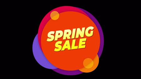 cupom : Spring sale Flat Style Banner Sticker Colorful Label Popup Promotional Animation. Sale, Discounts, Deals, Special Offers. Green Screen and Alpha Matte