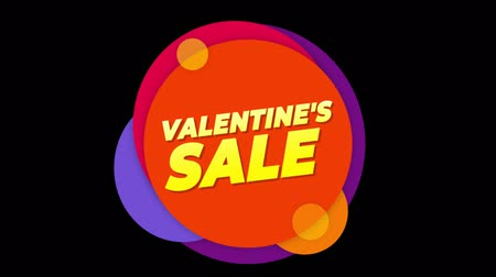 luty : Valentines Day Sale Flat Style Banner Sticker Colorful Label Popup Promotional Animation. Sale, Discounts, Deals, Special Offers. Green Screen and Alpha Matte