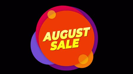 üç renkli : August Sale Flat Style Banner Sticker Colorful Label Popup Promotional Animation. Sale, Discounts, Deals, Special Offers. Green Screen and Alpha Matte Stok Video
