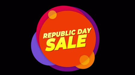 saffraan : Republic Day Sale Flat Style Banner Sticker Colorful Label Popup Promotional Animation. Sale, Discounts, Deals, Special Offers. Green Screen and Alpha Matte Stockvideo
