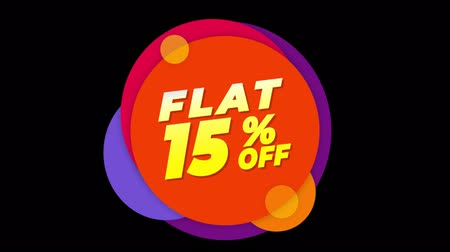 týden : Flat 15% Percent Off Flat Style Banner Sticker Colorful Label Popup Promotional Animation. Sale, Discounts, Deals, Special Offers. Green Screen and Alpha Matte