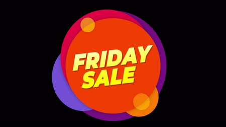 metka : Friday Sale Flat Style Banner Sticker Colorful Label Popup Promotional Animation. Sale, Discounts, Deals, Special Offers. Green Screen and Alpha Matte