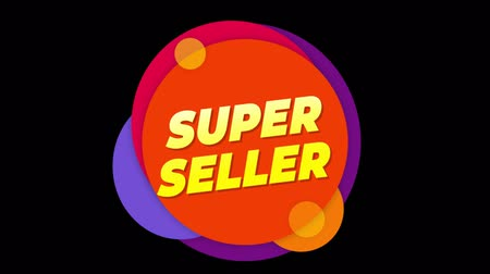 celkový : Super Seller Flat Style Banner Sticker Colorful Label Popup Promotional Animation. Sale, Discounts, Deals, Special Offers. Green Screen and Alpha Matte