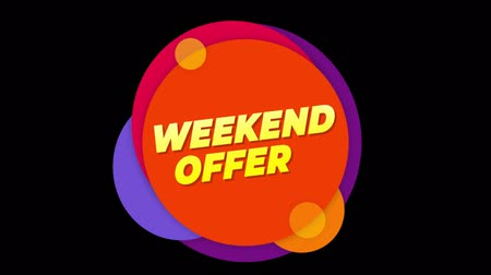 cupom : Weekend Offer Flat Style Banner Sticker Colorful Label Popup Promotional Animation. Sale, Discounts, Deals, Special Offers. Green Screen and Alpha Matte