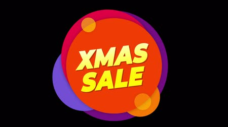 cabeçalho : Xmas Sale Flat Style Banner Sticker Colorful Label Popup Promotional Animation. Sale, Discounts, Deals, Special Offers. Green Screen and Alpha Matte Vídeos