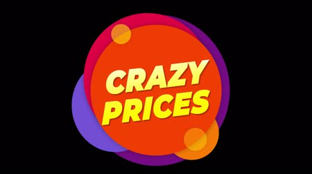 cupom : Crazy Prices Flat Style Banner Sticker Colorful Label Popup Promotional Animation. Sale, Discounts, Deals, Special Offers. Green Screen and Alpha Matte Vídeos