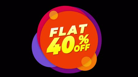 čtyřicátá léta : Flat 40% Percent Off Flat Style Banner Sticker Colorful Label Popup Promotional Animation. Sale, Discounts, Deals, Special Offers. Green Screen and Alpha Matte Dostupné videozáznamy