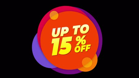 garantizado : Up To 15% Percent Off Flat Style Banner Sticker Colorful Label Popup Promotional Animation. Sale, Discounts, Deals, Special Offers. Green Screen and Alpha Matte Archivo de Video