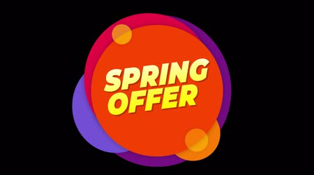 plakat : Spring Offer Flat Style Banner Sticker Colorful Label Popup Promotional Animation. Sale, Discounts, Deals, Special Offers. Green Screen and Alpha Matte