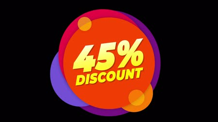 hoje : 45% Percent Discount Flat Style Banner Sticker Colorful Label Popup Promotional Animation. Sale, Discounts, Deals, Special Offers. Green Screen and Alpha Matte Stock Footage