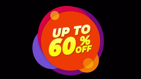 неделя : Up To 60 % Percent Off Flat Style Banner Sticker Colorful Label Popup Promotional Animation. Sale, Discounts, Deals, Special Offers. Green Screen and Alpha Matte