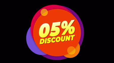 dnes : 05% Percent Discount Flat Style Banner Sticker Colorful Label Popup Promotional Animation. Sale, Discounts, Deals, Special Offers. Green Screen and Alpha Matte Dostupné videozáznamy