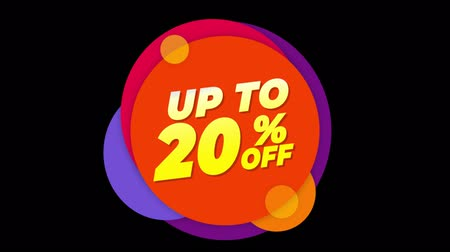 yirmi : Up To 20% Percent Off Flat Style Banner Sticker Colorful Label Popup Promotional Animation. Sale, Discounts, Deals, Special Offers. Green Screen and Alpha Matte Stok Video