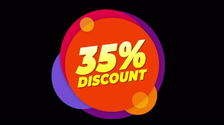 hoje : 35% Percent Discount Flat Style Banner Sticker Colorful Label Popup Promotional Animation. Sale, Discounts, Deals, Special Offers. Green Screen and Alpha Matte Vídeos