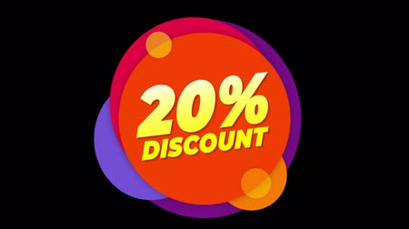 dnes : 20% Percent Discount Flat Style Banner Sticker Colorful Label Popup Promotional Animation. Sale, Discounts, Deals, Special Offers. Green Screen and Alpha Matte
