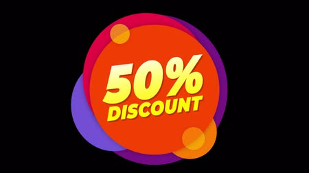 fifty : 50% Percent Discount Flat Style Banner Sticker Colorful Label Popup Promotional Animation. Sale, Discounts, Deals, Special Offers. Green Screen and Alpha Matte
