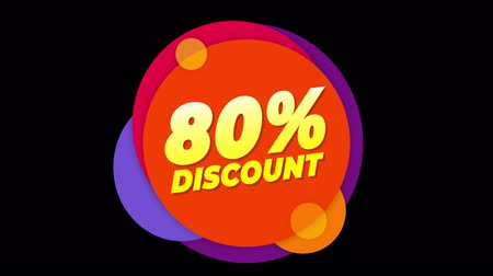 hoje : 80% Percent Discount Flat Style Banner Sticker Colorful Label Popup Promotional Animation. Sale, Discounts, Deals, Special Offers. Green Screen and Alpha Matte