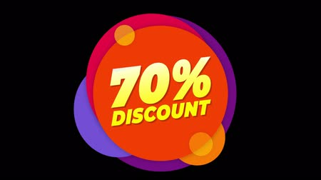 hoje : 70% Percent Discount Flat Style Banner Sticker Colorful Label Popup Promotional Animation. Sale, Discounts, Deals, Special Offers. Green Screen and Alpha Matte Stock Footage