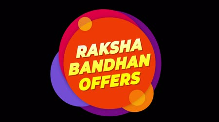 wristband : Raksha Bandhan Offers Flat Style Banner Sticker Colorful Label Popup Promotional Animation. Sale, Discounts, Deals, Special Offers. Green Screen and Alpha Matte Stock Footage