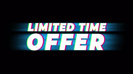 metka : Limited Time Offer Text Glitch Effect Promotion Advertisement Loop Background. Price Tag, Sale, Discounts, Deals, Special Offers, Green Screen and Alpha Matte