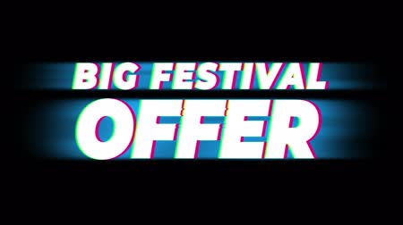 cinquantenne : Big Festival Offer Text Glitch Effect Promotion Advertisement Loop Background. Price Tag, Sale, Discounts, Deals, Special Offers, Green Screen and Alpha Matte