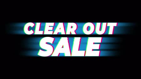 publicity : Clear Out Sale Text Glitch Effect Promotion Advertisement Loop Background. Price Tag, Sale, Discounts, Deals, Special Offers, Green Screen and Alpha Matte Stock Footage