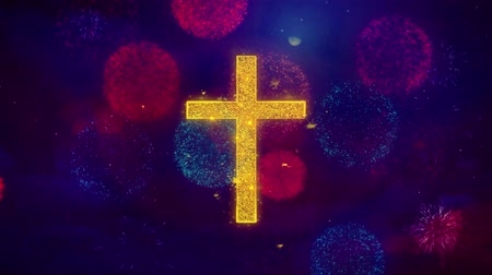 baptism : Church Cross Christianity Religion Icon Symbol on Colorful Fireworks Particles. Object, Shape, Design, Text, Element, 4K Loop Animation. Stock Footage
