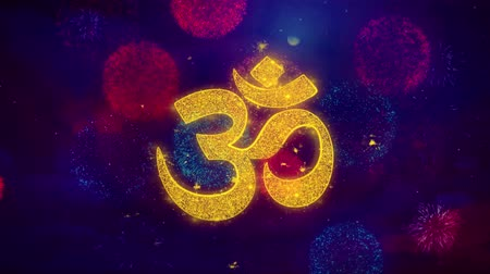 felsefe : Hinduism, meditation, om, yoga hindu symbol, indian religion Icon Symbol on Colorful Fireworks Particles. Object, Shape, Design, Text, Element 4K Loop Animation