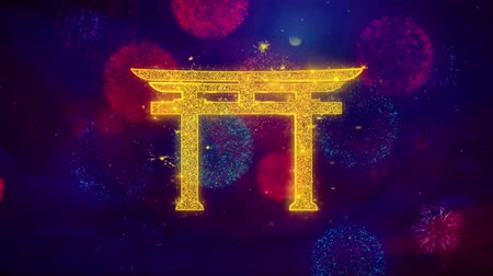 jodendom : Shinto symbol Torii religion Icon Symbol on Colorful Fireworks Particles. Object, Shape, Design, Text, Element, 4K Loop Animation.